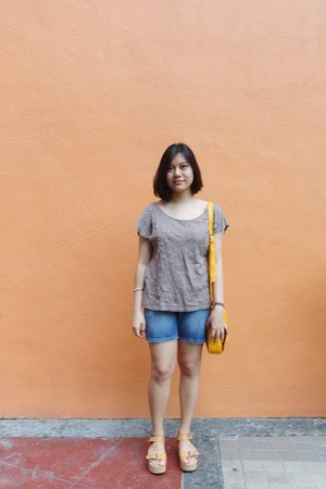 yellow Fashion Code 101 bag - blue jeans shorts - beige sequined Forever 21 top