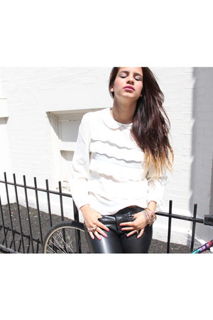 white VeryHoney blouse - light blue SoYouShoes shoes - black H&M pants