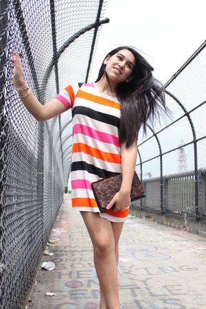 carrot orange H&M dress - dark brown Very Honey purse - peach SoYouShoes heels