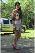 Mango heels - Mango shorts - Forever21 blouse