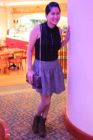 Mango blouse - f21 skirt - From hk given by Mum boots - Two-tone gold bracelet -