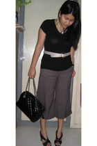 Charles & Keith belt - Generic blouse - Guess necklace - The Limited pants - Nin