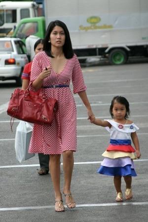 Couture dress - balenciaga purse - vnc shoes