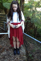 maroon romwe skirt - white cotton on blouse