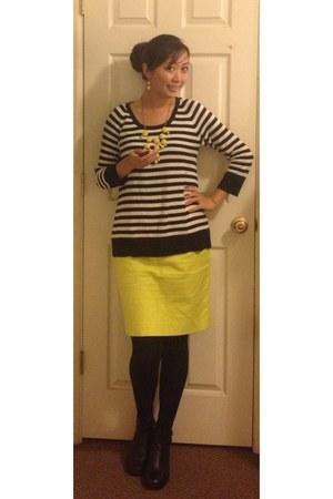 JCrew necklace - Dansko boots - unknown sweater - JCrew skirt