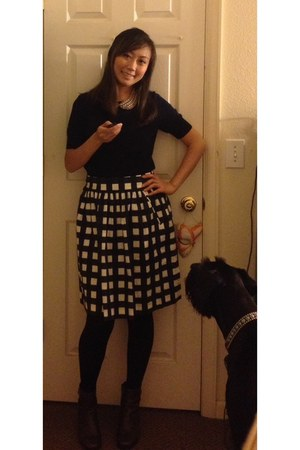 banana republic skirt - ecco boots - JCrew sweater - unknown necklace