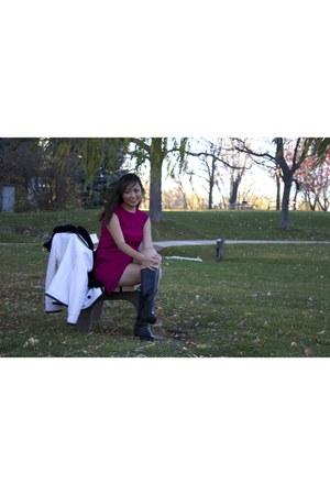 ankle boots Clarks boots - Michael Kors dress - JCrew coat