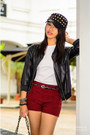 Spiky-cap-hat-faux-leather-jacket-jacket-checkered-shorts-shorts