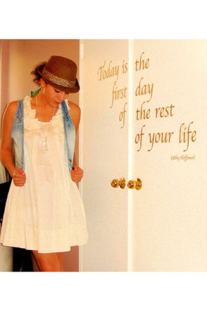 white hm dress - hm vest - volcom hat - Aldo necklace