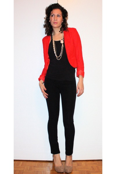 ruby red H&M blazer - black Victorias Secret top - black Gap pants - nude GoJane
