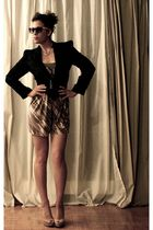 black nastygal blazer - La Senza dress - Aldo shoes - black American Apparel bel
