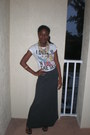White-zara-t-shirt-gray-stripes-pac-sun-skirt-black-kenneth-cole-sandals