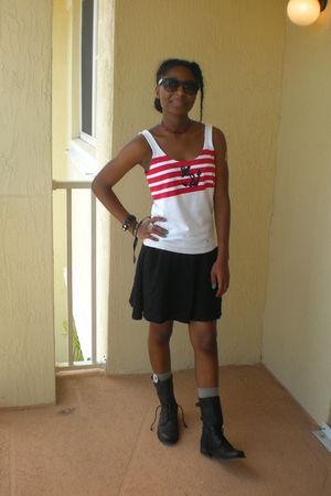 white Ralph Lauren top - black Nordstrom skirt - black All Saints boots