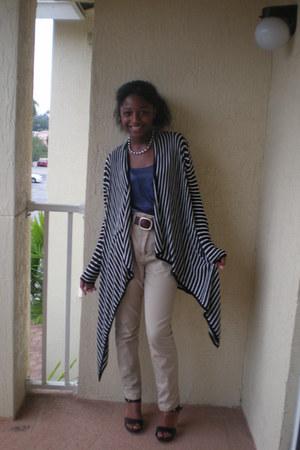 black black and white Nordstrom cardigan - beige high waist H&M pants