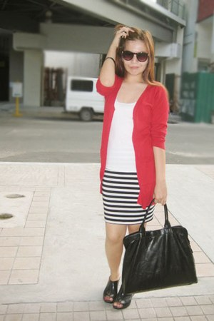 red cardigan - black Forever 21 skirt - dark brown Forever 21 glasses - white sh