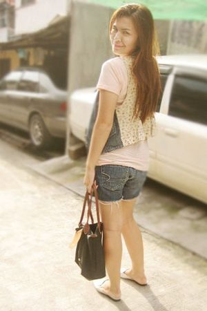 beige BeBop vest - pink pink shirt - blue Aeropostale shorts - black longchamp b