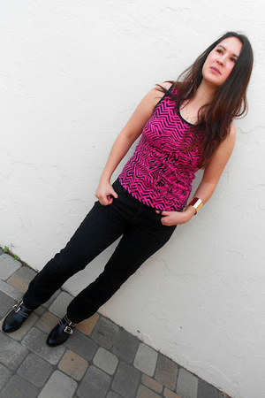 black shoemint boots - hot pink McQ for Target shirt - black Gap pants