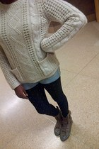 knit Primark Atmosphere sweater - army green Converse boots - tights