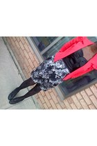 black floral papaya dress - red UK2LA jacket - black heels