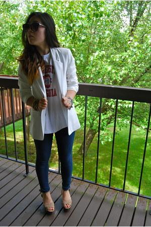 white Forever 21 blazer - tan Charlotte Russe wedges
