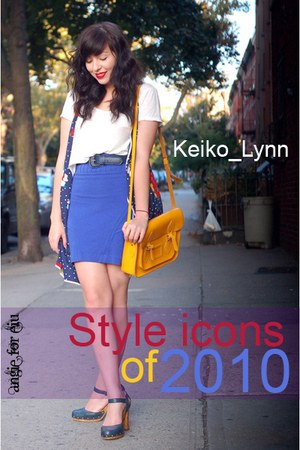 blue shoes - gold purse - blue skirt - blue vest - white t-shirt - blue belt