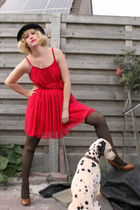 black Ebay hat - brown Vero Moda shoes - red H&M dress