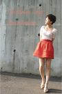 White-zara-top-orange-h-m-skirt