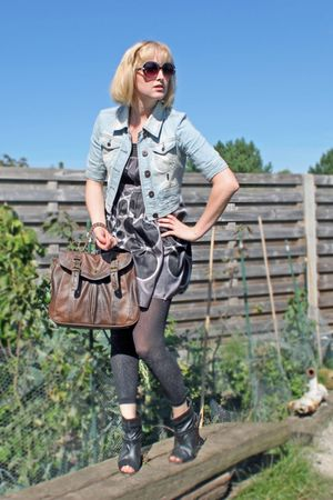 black Pimkie boots - gray JBC dress - blue denim Only jacket
