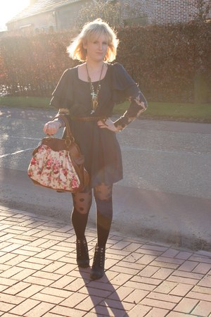 black dotted H&M tights - black pieces boots - navy H&M dress