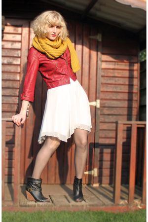 red leather River Island jacket - black Pimkie boots - white warehouse dress