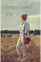 pink pants - brown purse - blue shirt - - white