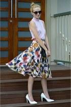 pink Topshop skirt - black Colette bag - black portmans sunglasses