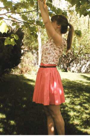 pink H&M blouse - pink H&M skirt - brown belt