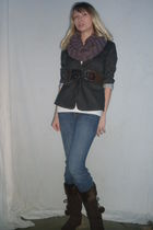 gray Forever 21 blazer - brown scarf - brown belt - white shirt - blue LEI jeans