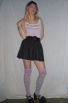 purple made by me shirt - black skirt - purple socks - black shoes - black belt