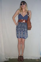 blue as you wish dress - brown belt - brown Dollhouse shoes - brown purse - silv