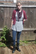 red Delias cardigan - gray shirt - black Route 66 scarf - black belt - blue jean