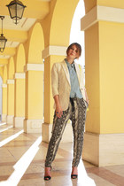 white linen Mango blazer - sky blue jeans American Apparel shirt