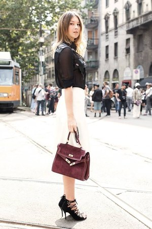 brick red vintage bag - black Maria grazia severi blouse - white Zara skirt