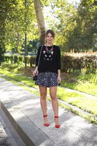 black cat asos jumper - black 255 Chanel bag - red suede Zara heels