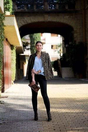 dark gray jeans - brown blazer - light blue Zara blouse
