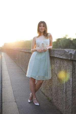 light blue Lazzari dress - chartreuse metallic asos flats