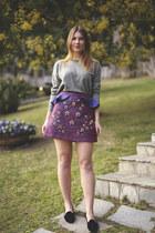 purple embellished Three Floor skirt - charcoal gray Ralph Lauren jumper