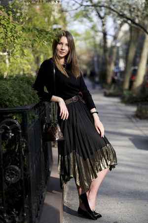 black Uniqlo sweater - black River Island skirt - black Charlotte Olympia flats