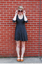 black polka dot Forever 21 dress - brown Lotta of Stockholm clogs