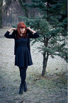 black Lasocki boots - black Orsay dress - black Mohito cardigan