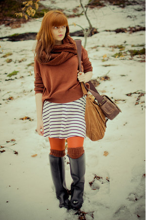 white striped H&M dress - black Cavalliero boots - tawny KaphAhl sweater