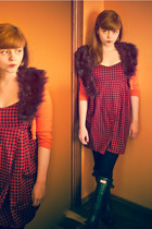 crimson houndstooth Bershka dress - black Hunter boots