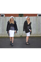 black cut out booties Ebay shoes - black biker jacket Bershka jacket