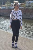 black Ebay jeans - white fishnet Ebay socks - brown Karma Loop UK sunglasses